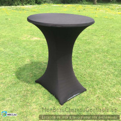 Nappe Noire Stretch pour table de bar haute / mange debout - location