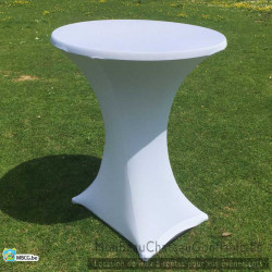 Nappe Blanche Stretch pour table de bar haute / mange debout - location