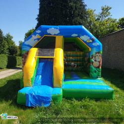 Le Combo Jungle, château gonflable couvert avec toboggan