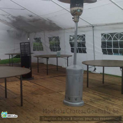 chauffe terrasse gaz champignons, chauffe terrasse gaz bas, plancher, tables rondes, pour un évènement réussi