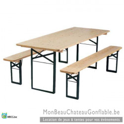 Tables de brasserie- Ensemble table et bancs - location